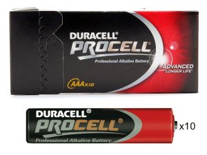 10 piles alcalines AAA LR03 Duracell Procell