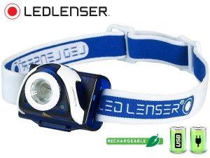 Lampe frontale hybride Ledlenser SEO 7R Bleue