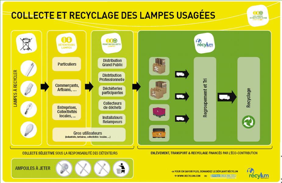 filière de la collecte et du recyclage des ampoules à led usagées
